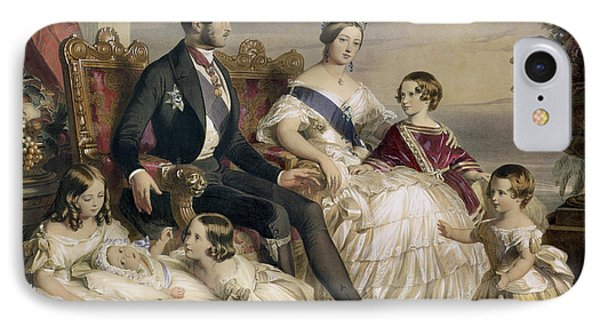 Queen Victoria And Prince Albert With Five Of The Their Children IPhone Case by Franz Xavier