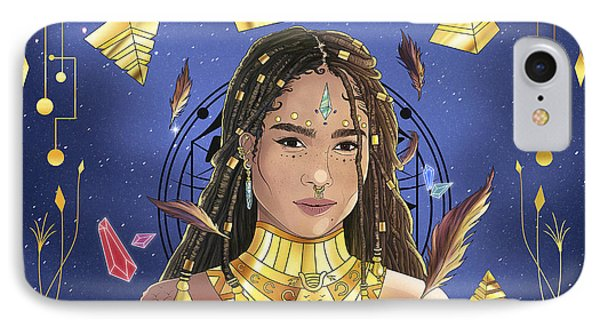 Queen Zoe Kravitz Illustration IPhone Case by Kenal Louis