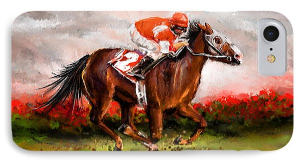 Quest For The Win - Horse Racing Art IPhone Case by Lourry Legarde