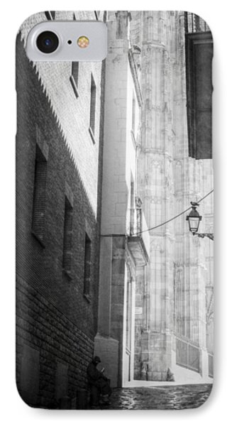 Quiet Moment Near Barcelona Cathedral, B/w IPhone Case by Valerie Reeves