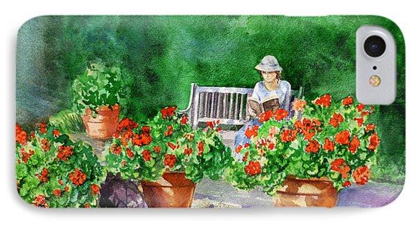 Quiet Moment Reading In The Garden IPhone Case by Irina Sztukowski