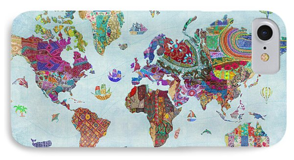 Quilted World Map IPhone Case by Aimee Stewart