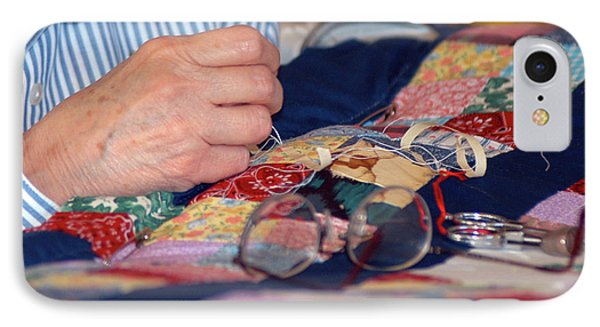 IPhone Case featuring the photograph Quilter's Hands by Wanda Brandon