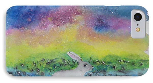 IPhone Case featuring the painting Rabbit In Galaxy 5 by Doris Blessington