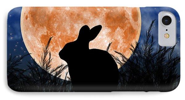 Rabbit Under The Harvest Moon Phone Case by Elizabeth Alexander