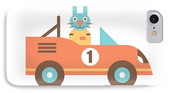 Rabbit Racer IPhone Case by Mitch Frey