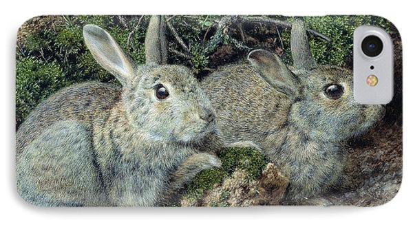 Rabbits IPhone Case by John Sherrin