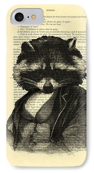 Raccoon Portrait, Animals In Clothes IPhone Case by Madame Memento