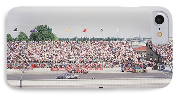 Racecars On A Motor Racing Track IPhone Case