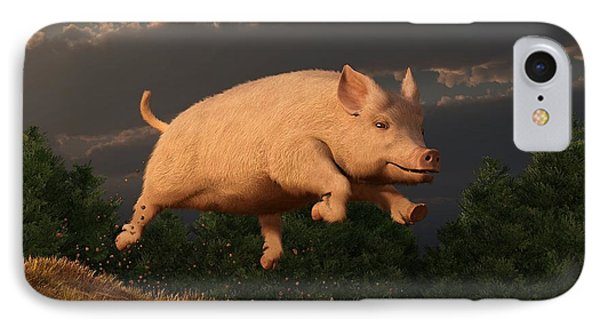 Racing Pig Phone Case by Daniel Eskridge