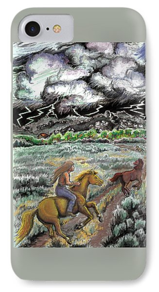 IPhone Case featuring the drawing Racing The Lightning Home by Dawn Senior-Trask