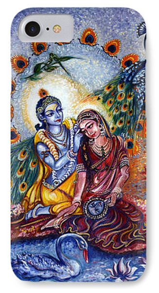 Radha Krishna Cosmic Leela IPhone Case by Harsh Malik