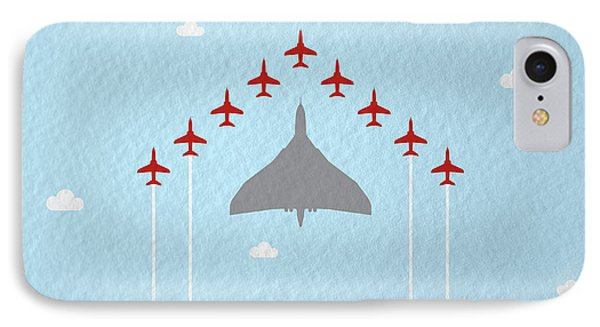 Jet iPhone 7 Case - Raf Red Arrows In Formation With Vulcan Bomber by Samuel Whitton