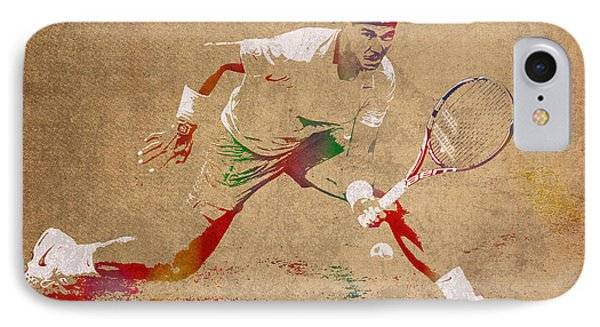 Rafael Nadal Tennis Star Watercolor Portrait On Worn Canvas IPhone Case by Design Turnpike