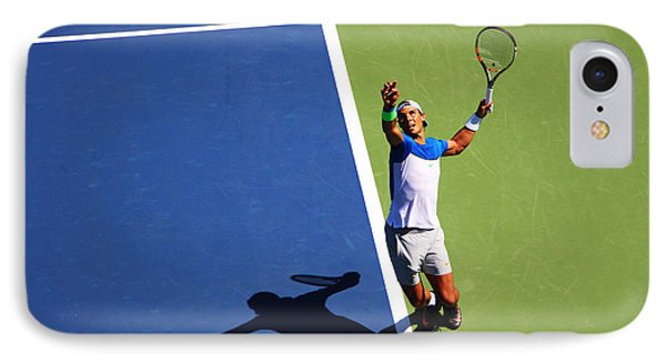 Rafeal Nadal Tennis Serve IPhone Case by Nishanth Gopinathan