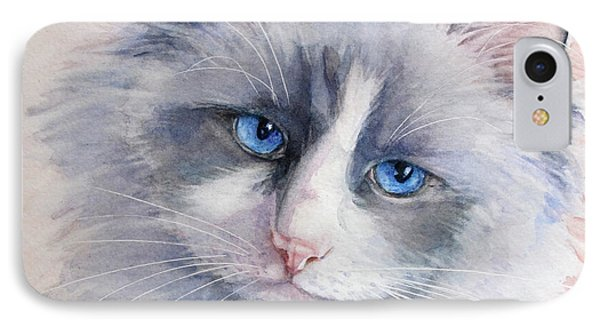 IPhone Case featuring the painting Ragdoll Cat by Bonnie Rinier