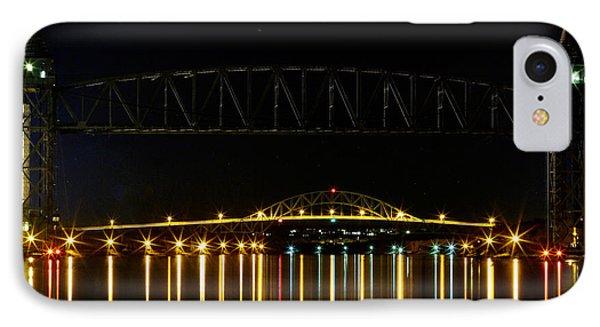 Railroad And Bourne Bridge At Night Cape Cod Phone Case by Matt Suess