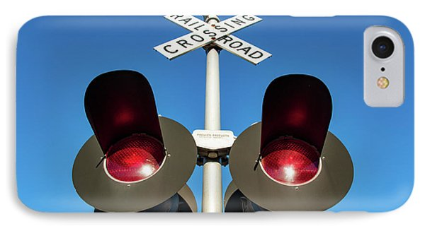 Railroad Crossing Lights IPhone Case by Todd Klassy