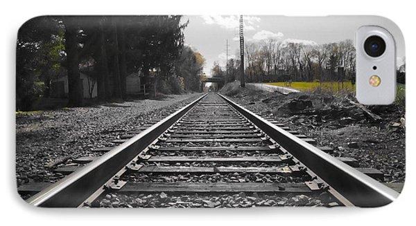 Railroad Tracks Bw IPhone Case