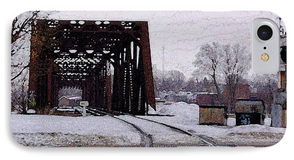 Railroad Tressel On Front Street Crossing The Grand River IPhone Case by Rosemarie E Seppala
