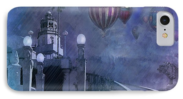 IPhone Case featuring the digital art Rain And Balloons At Hearst Castle by Jeff Burgess