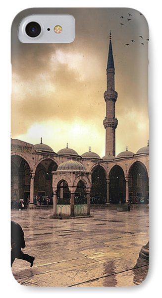 Rain At The Blue Mosque Phone Case by Marji Lang