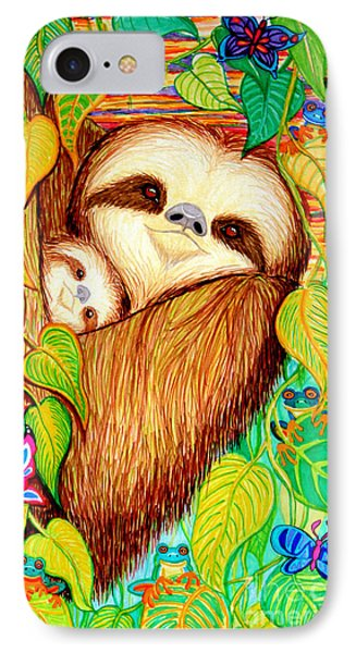 Rain Forest Survival Mother And Baby Three Toed Sloth Phone Case by Nick Gustafson