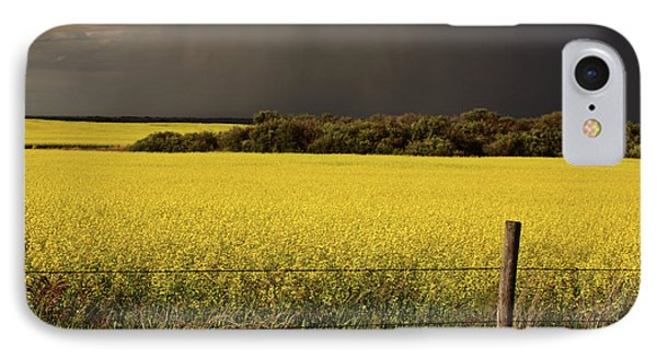 Rain Front Approaching Saskatchewan Canola Crop Phone Case by Mark Duffy