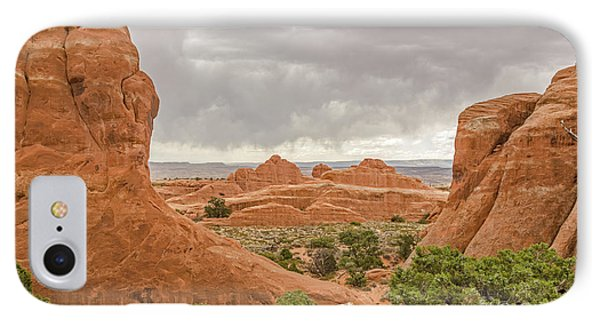 IPhone Case featuring the photograph Rain In The Distance At Arches by Sue Smith