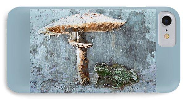 Rain On Toad Under Toadstool Umbrella IPhone Case