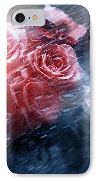Rain Red Roses Nostalgia IPhone Case by Jenny Rainbow