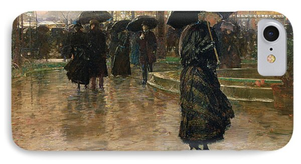 Rain Storm Union Square IPhone Case by Childe Hassam