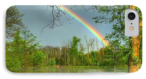 Rainbow At The Lake IPhone Case by Sumoflam Photography