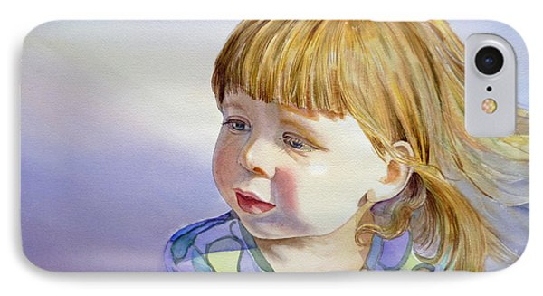 Rainbow Breeze Girl Portrait Phone Case by Irina Sztukowski