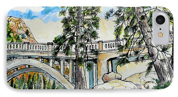 IPhone Case featuring the painting Rainbow Bridge At Donner Summit by Terry Banderas