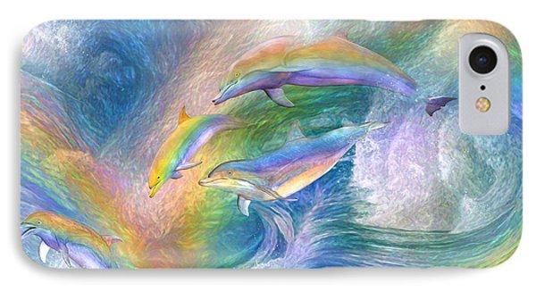 Rainbow Dolphins IPhone 7 Case by Carol Cavalaris