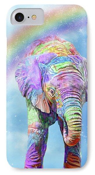 IPhone Case featuring the mixed media Rainbow Elephant by Carol Cavalaris