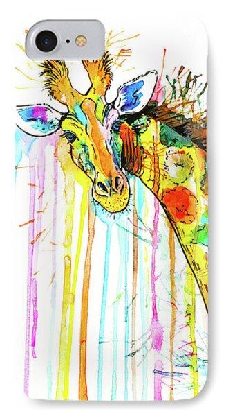 IPhone Case featuring the painting Rainbow Giraffe by Zaira Dzhaubaeva