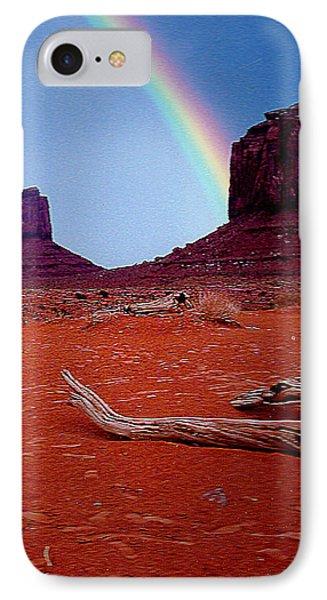 Rainbow In Monument Valley Arizona IPhone Case by Merton Allen
