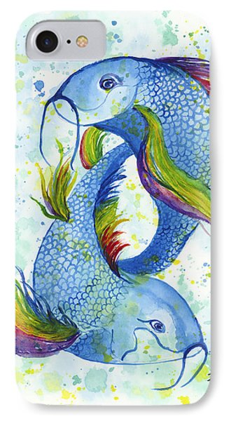IPhone Case featuring the painting Rainbow Koi by Darice Machel McGuire