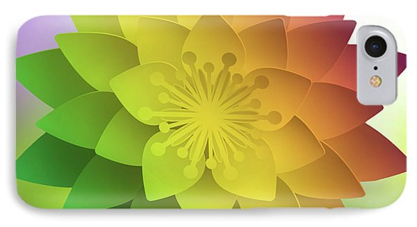 IPhone Case featuring the digital art Rainbow Lotus by Mo T