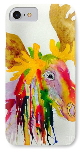 Rainbow Moose Head  - Abstract IPhone Case by Ellen Levinson
