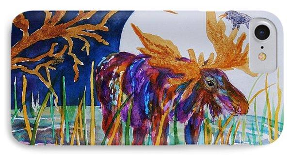 Rainbow Moose Night Grazing IPhone Case by Ellen Levinson