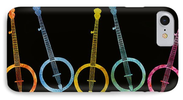 Rainbow Of Banjos IPhone Case by Jenny Armitage
