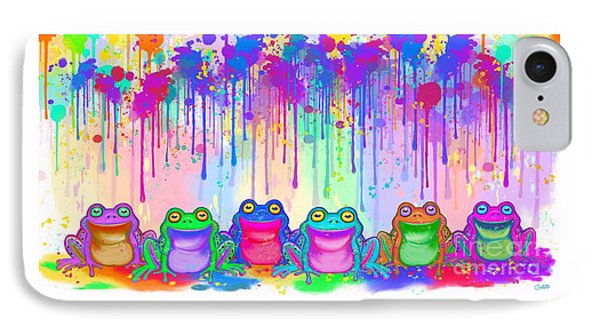 IPhone Case featuring the painting Rainbow Of Painted Frogs by Nick Gustafson