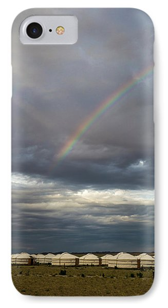 IPhone Case featuring the photograph Rainbow Over Ger Camp, Gobi, 2016 by Hitendra SINKAR