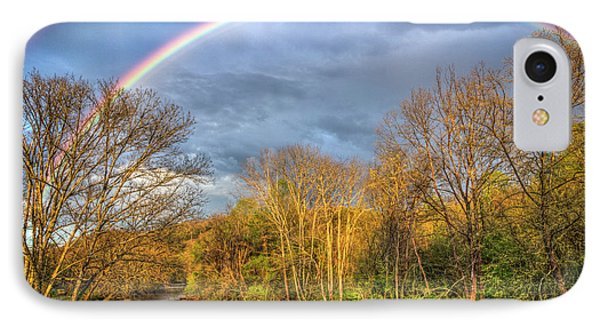 IPhone Case featuring the photograph Rainbow Over The River by Debra and Dave Vanderlaan