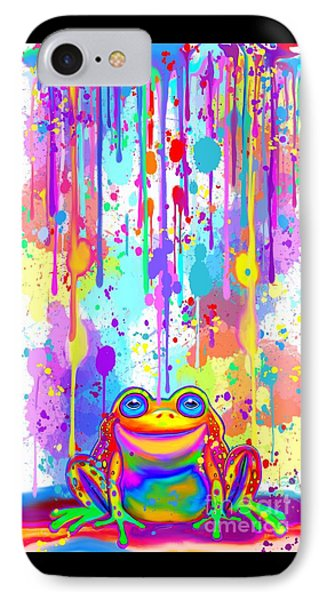 IPhone Case featuring the painting Rainbow Painted Frog  by Nick Gustafson