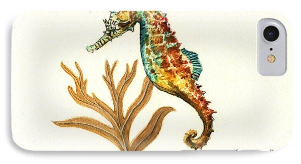 Seahorse iPhone 7 Case - Rainbow Seahorse by Juan Bosco