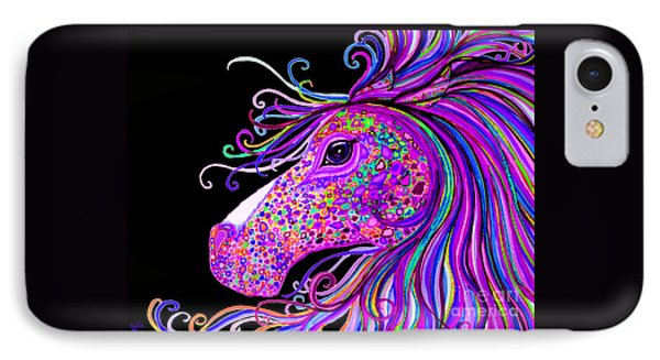 Rainbow Spotted Horse Head 2 IPhone Case by Nick Gustafson